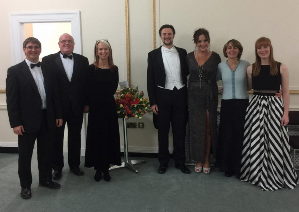 Musical Director Clive Phillips, Accompanists David Last & Rachel Saunders with soloists Ros Evans, Joshua Owen Mills & Jody Smith with their accompanist Rachel Ramos at the conclusion of at Cor Meibion Pontarddulais Male Choir Annual Concert at Brangwyn Hall.